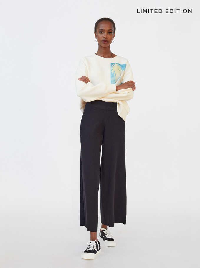 Pantalon Large En Maille Limited Edition, Noir, hi-res