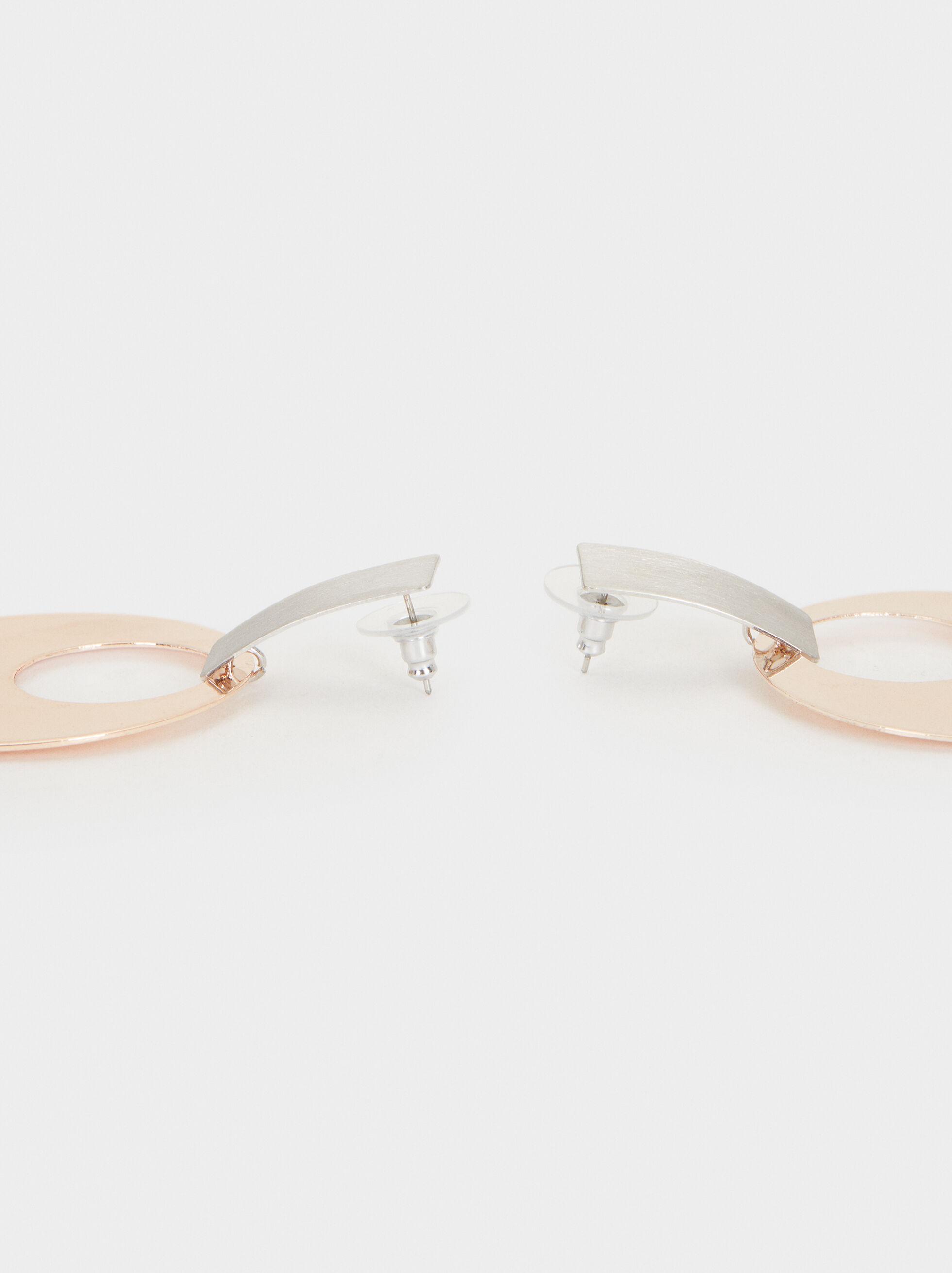 Long Two-Tone Earrings, Silver, hi-res