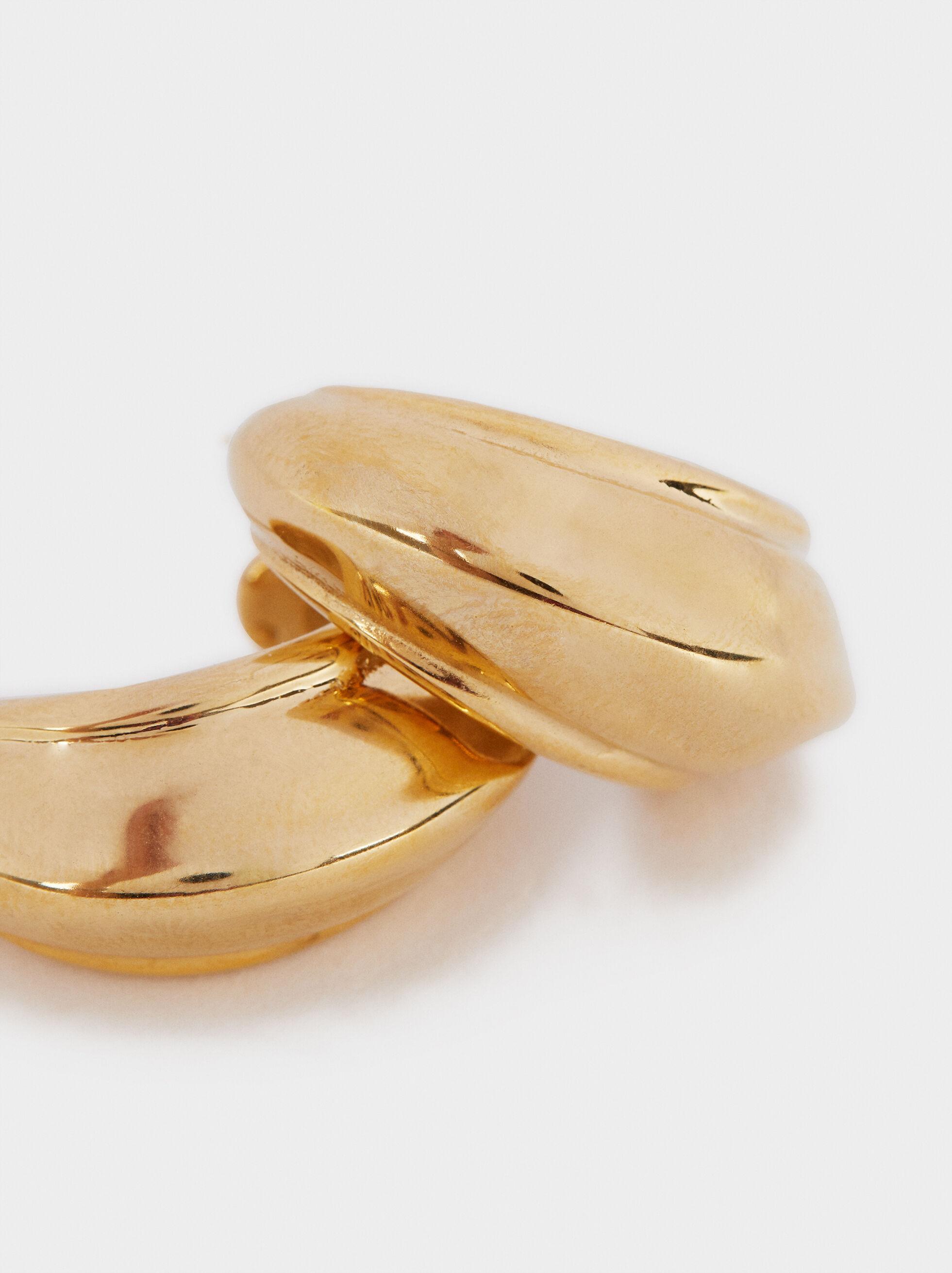 Pendientes De Aro De Acero Dorado, Dorado, hi-res