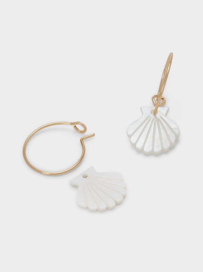 Small Hoop Earrings With Shell, Golden, hi-res