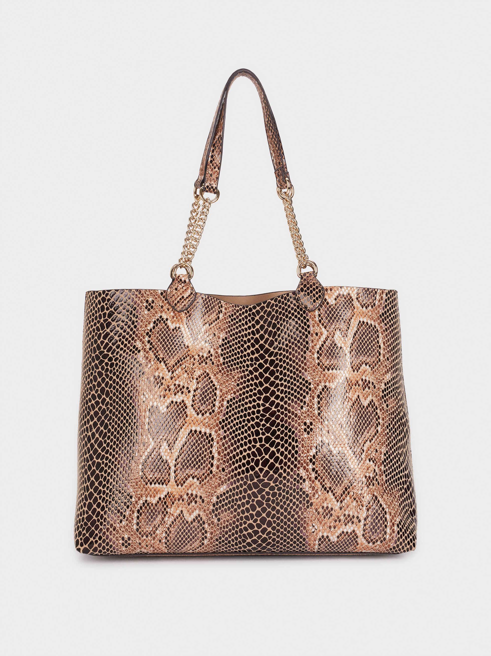 Bolso Shopper Grabado Animal, Beige, hi-res