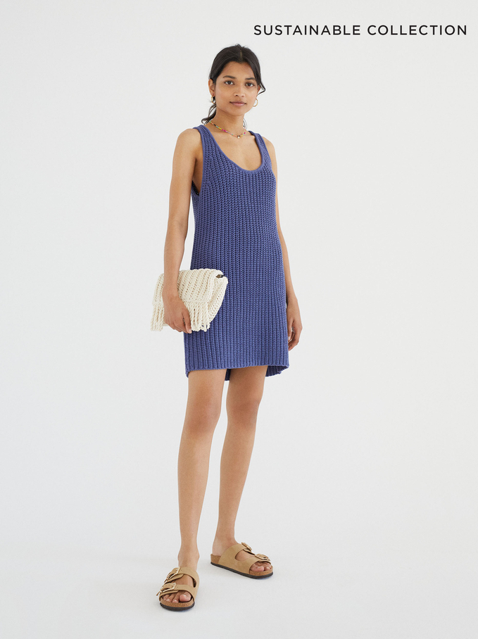 Limited Edition Knitted Dress Made From Recycled Materials, Blue, hi-res