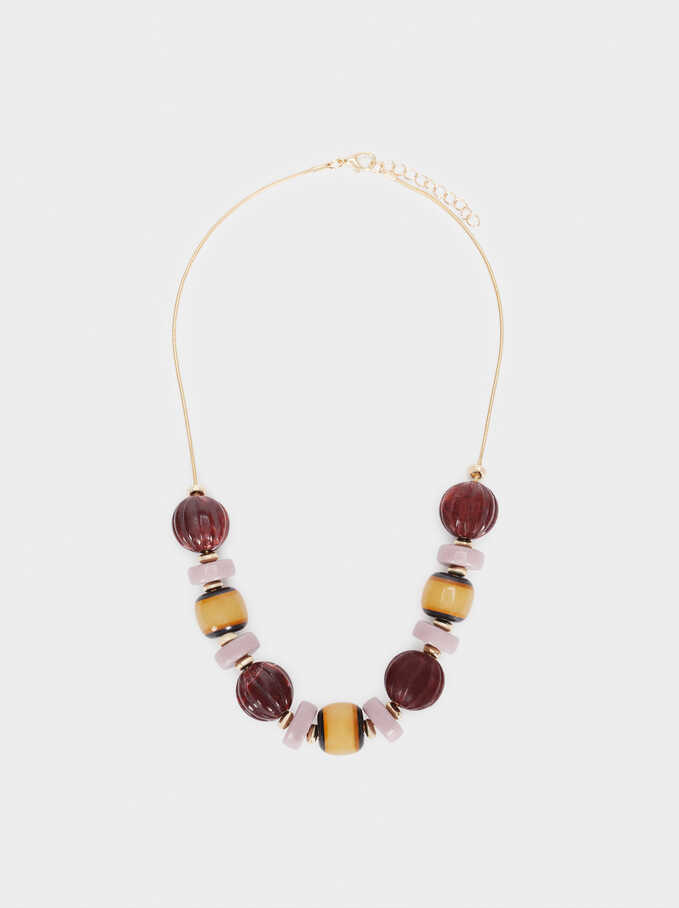 Golden Short Necklace With Beading, Multicolor, hi-res
