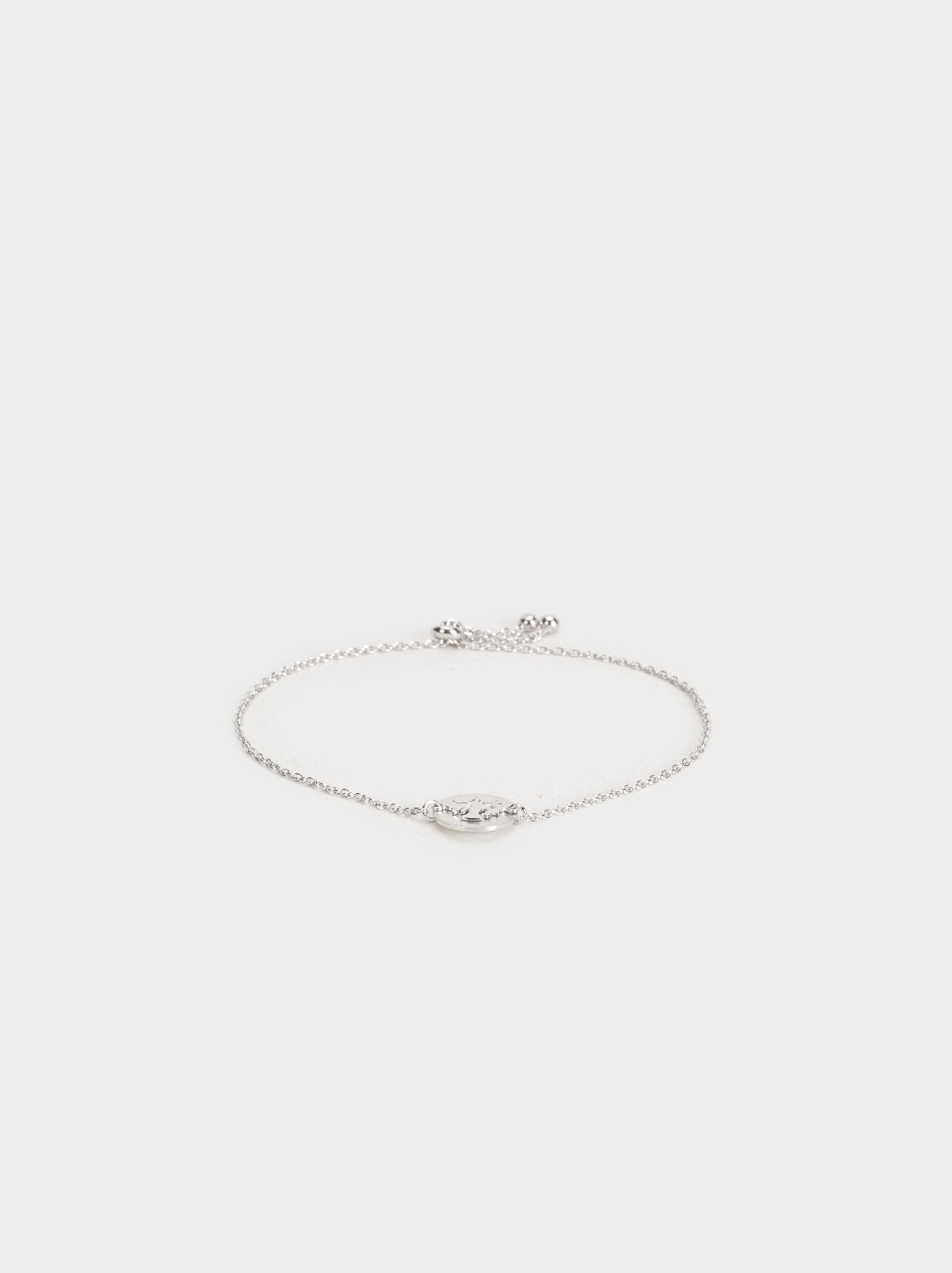 925 Silver Adjustable Bracelet With Tree Charm, Silver, hi-res