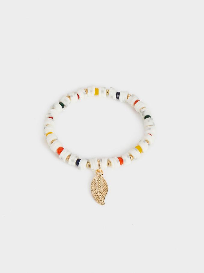 Leaf Elastic Bracelet, Golden, hi-res