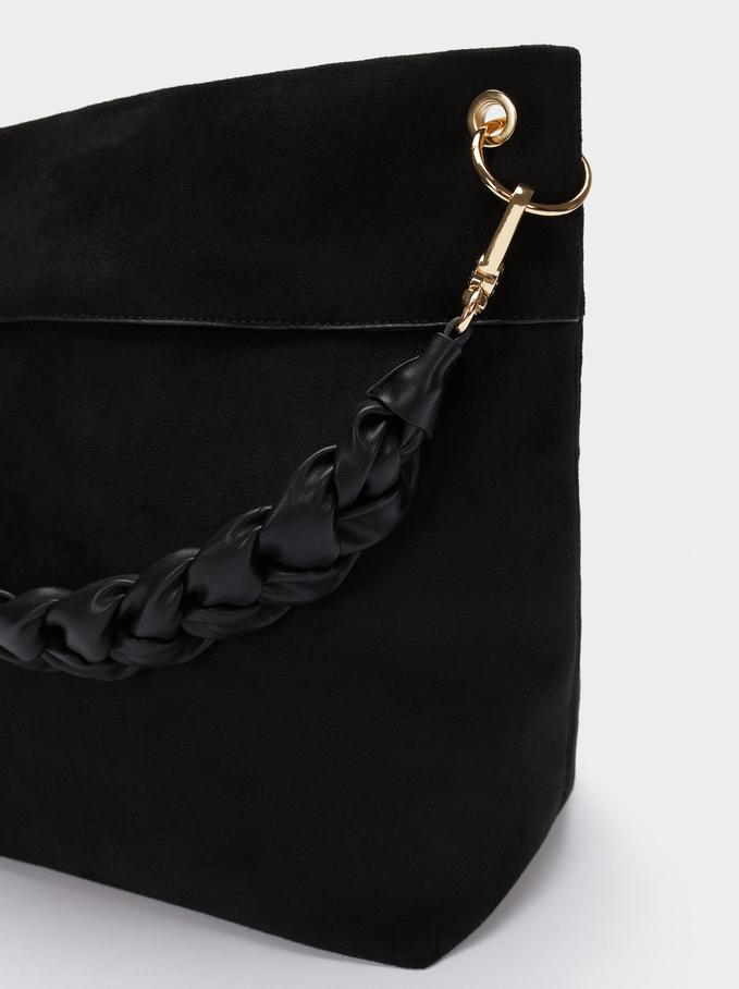 Faux Suede Shoulder Bag, Black, hi-res