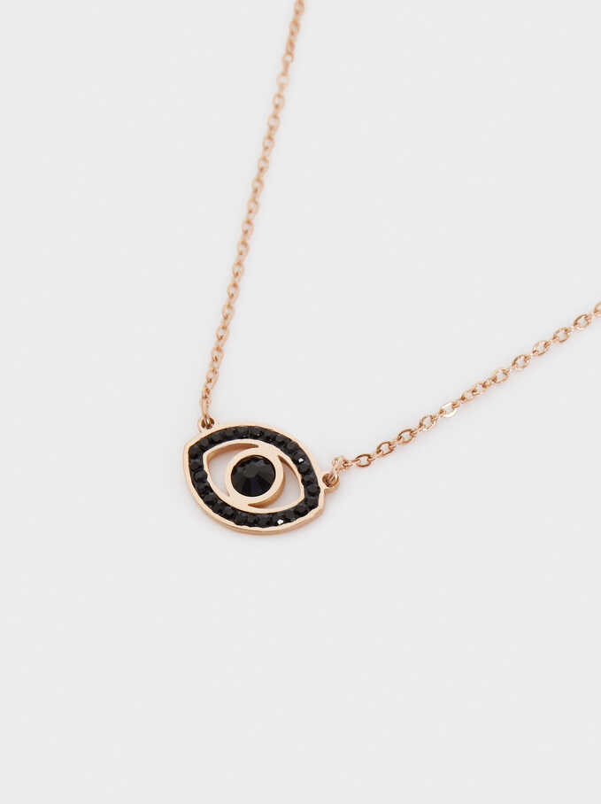 Short Stainless Steel Necklace With Eye And Crystals, Orange, hi-res