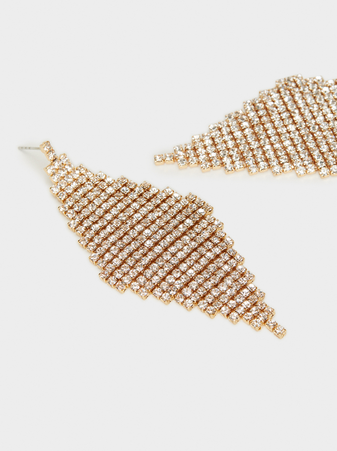 Long Rhinestone Earrings, Golden, hi-res