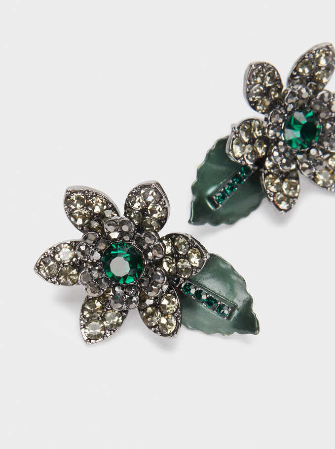 Short Earrings With Multicoloured Flowers And Crystals, Green, hi-res