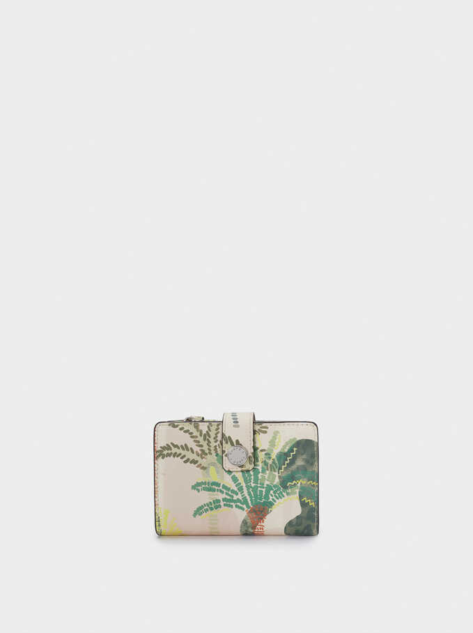 Compact Palm Tree Print Wallet, Beige, hi-res