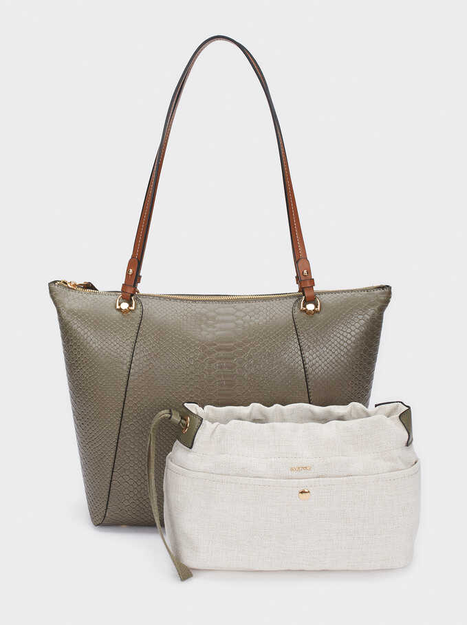 Embossed Animal Print Tote Bag With Removable Interior, Khaki, hi-res