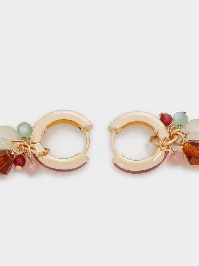 Small Hoop Earrings With Stones, Golden, hi-res