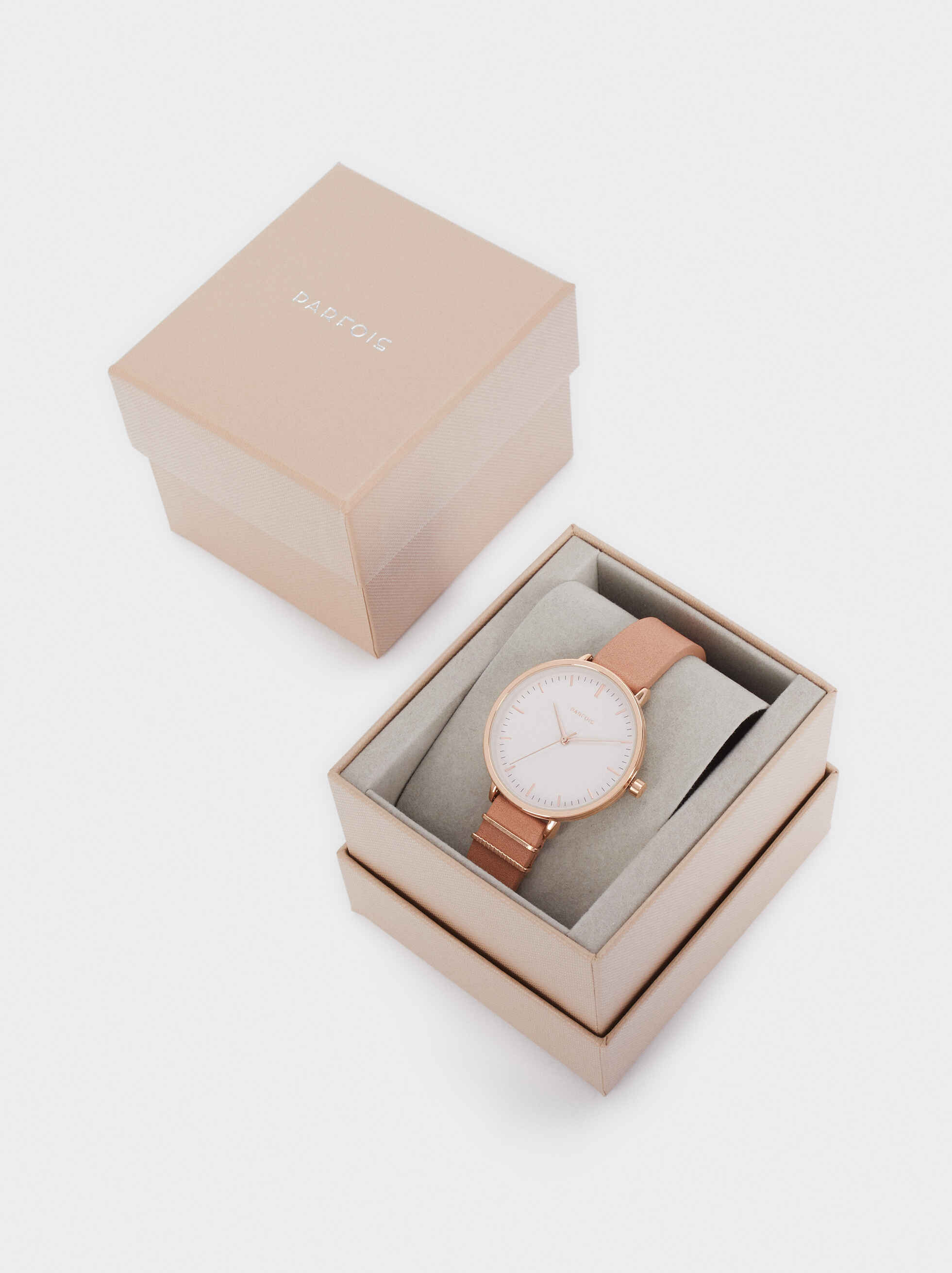 Watch With Leather Texture Strap, Orange, hi-res