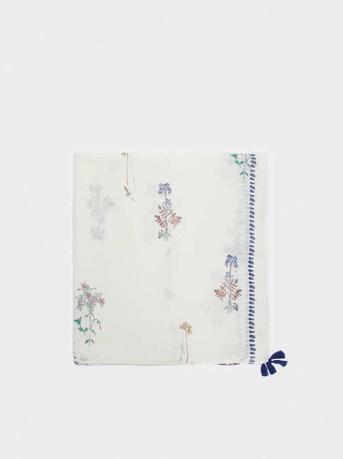 Floral Print Scarf, White, hi-res