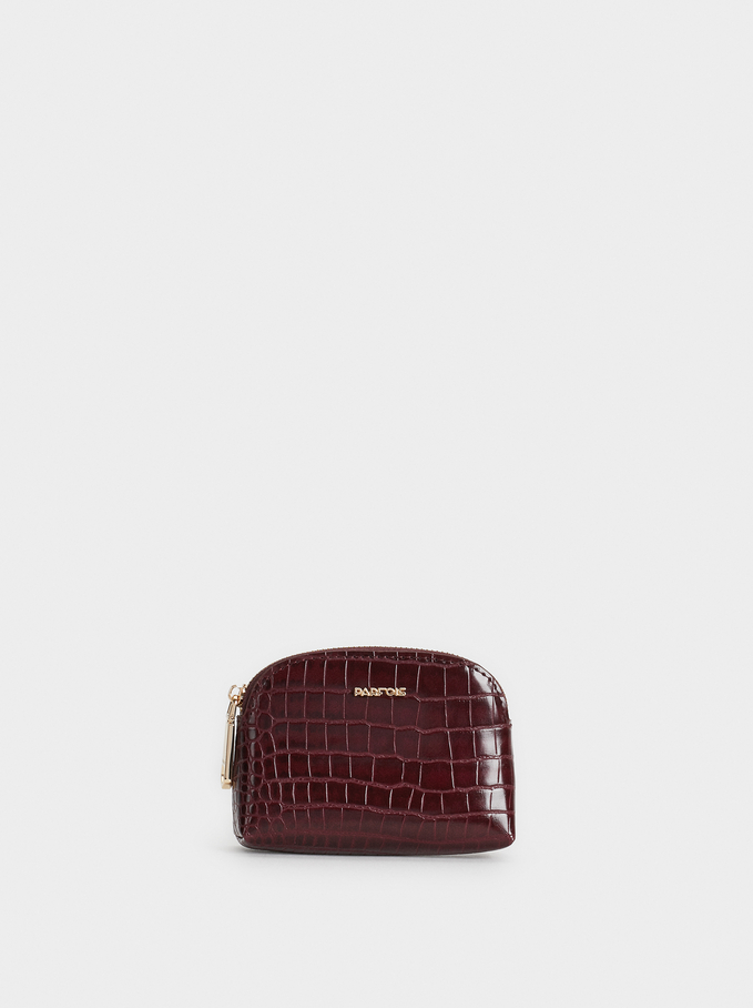 Small Embossed Animal Print Purse, Bordeaux, hi-res