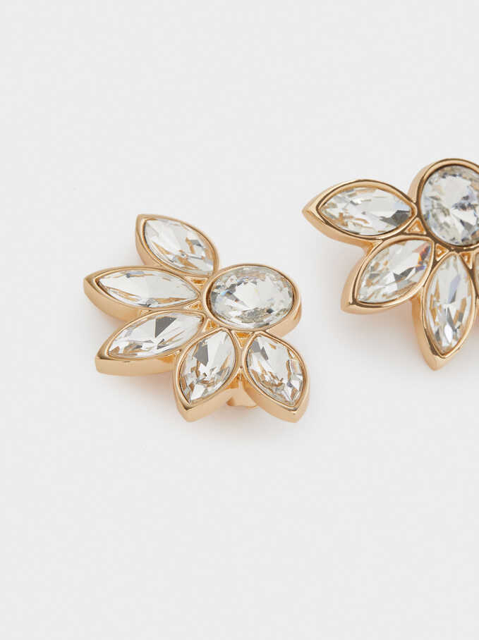 Short Flower Earrings With Crystals, Golden, hi-res