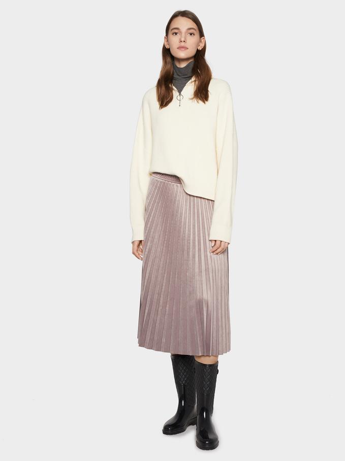 Velvet Pleated Skirt, Purple, hi-res