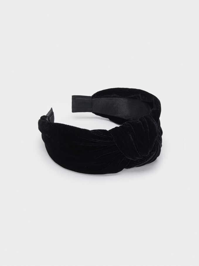 Diadema Turbante Terciopelo, Negro, hi-res
