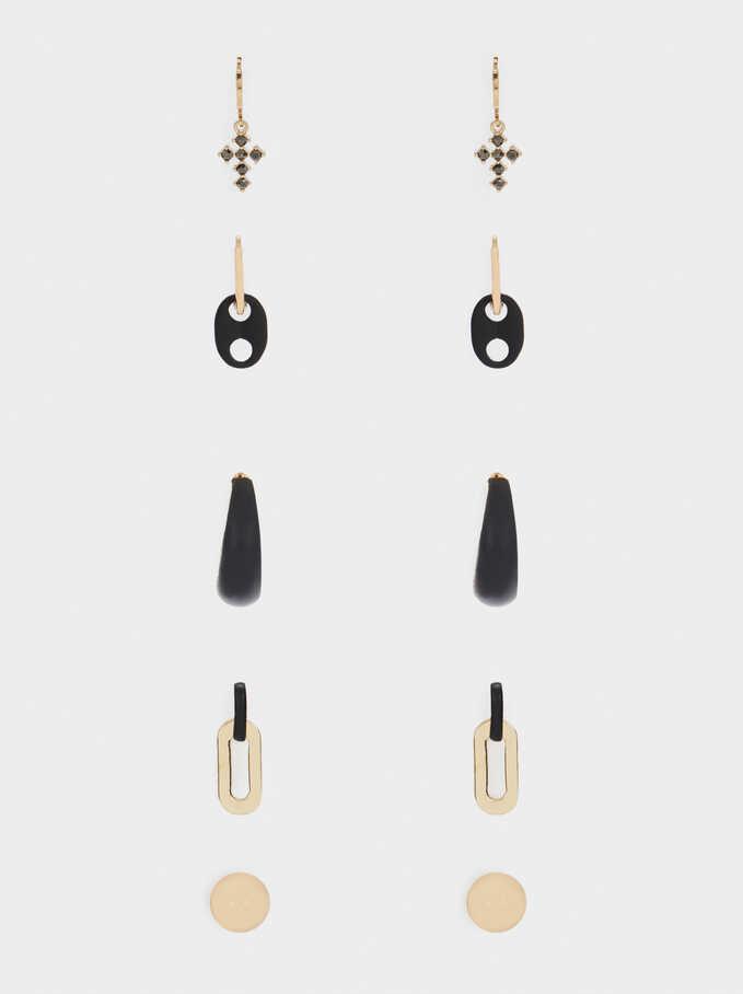 Set Of Hoops With Crystals, Black, hi-res