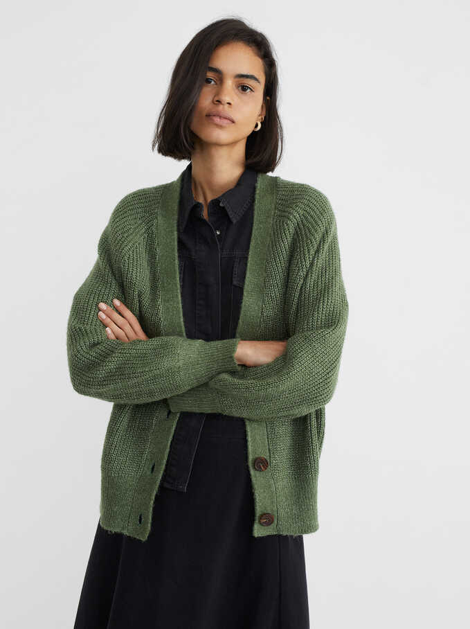 Knit Cardigan, Green, hi-res