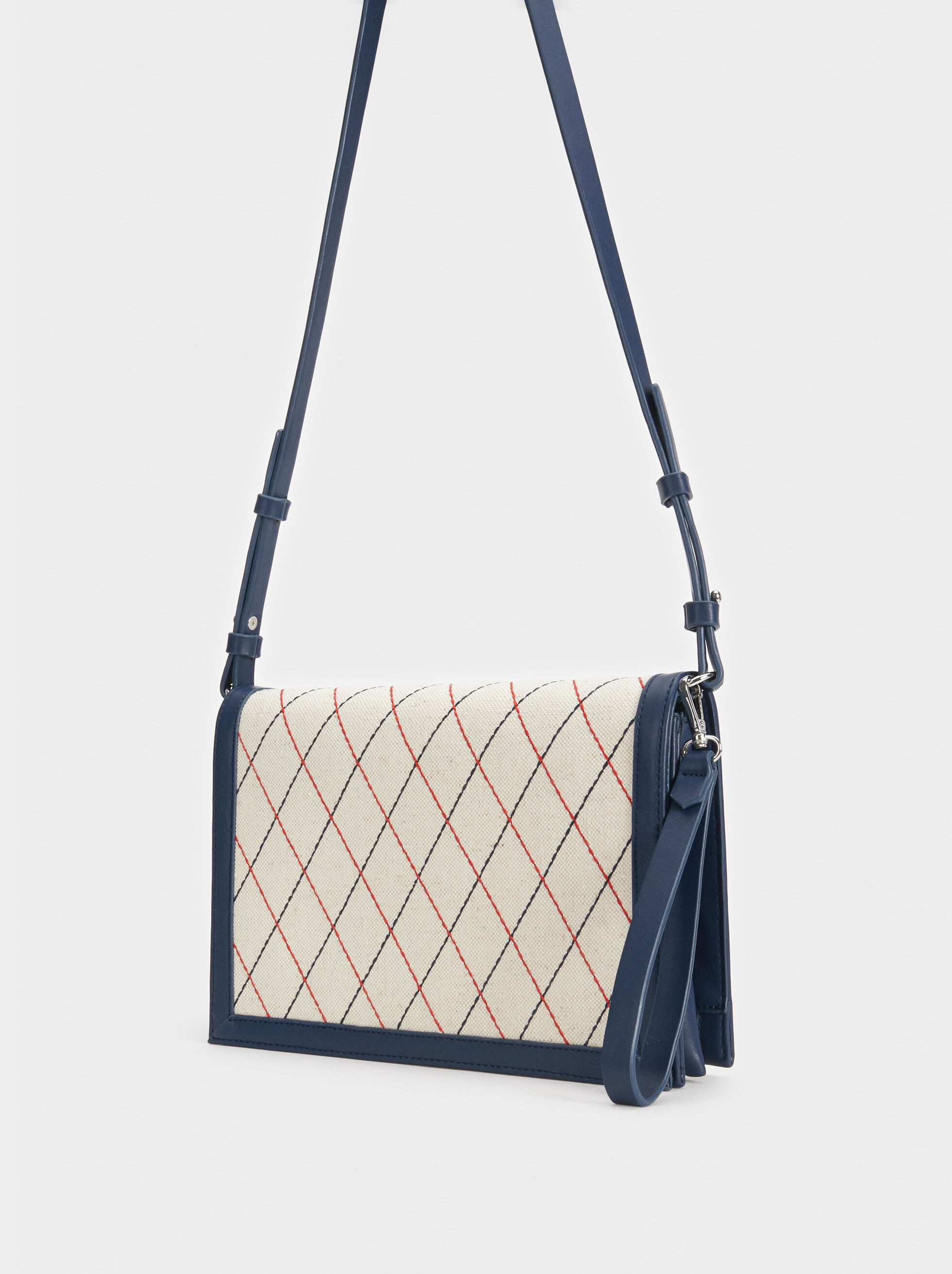 Handbag With Contrast Stripes, Navy, hi-res