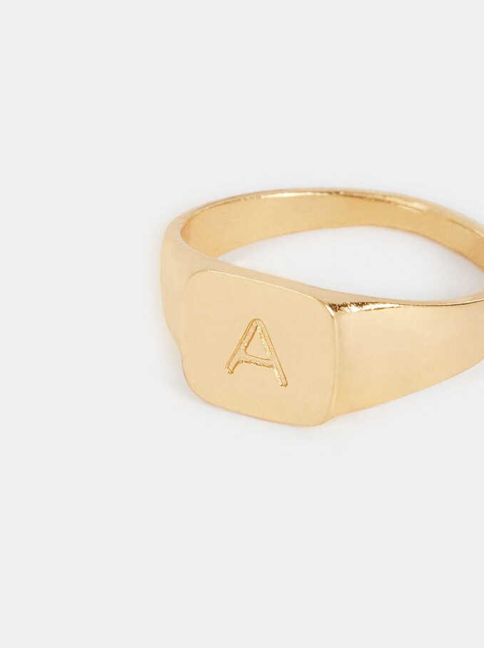 Signet Ring Size M, Golden, hi-res