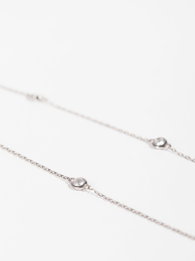 Short 925 Silver Necklace With Crystals, Silver, hi-res