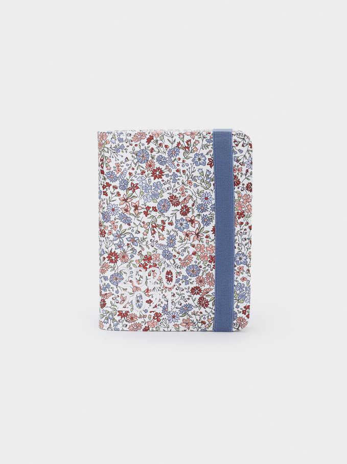 Floral Print Notebook, Blue, hi-res