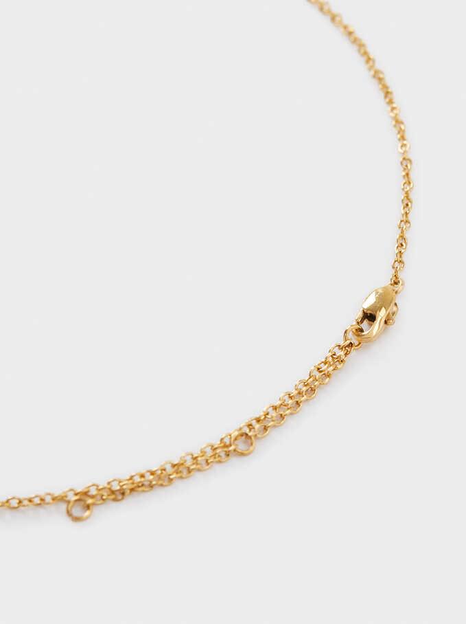 Collar Corto De Acero Medalla, Dorado, hi-res