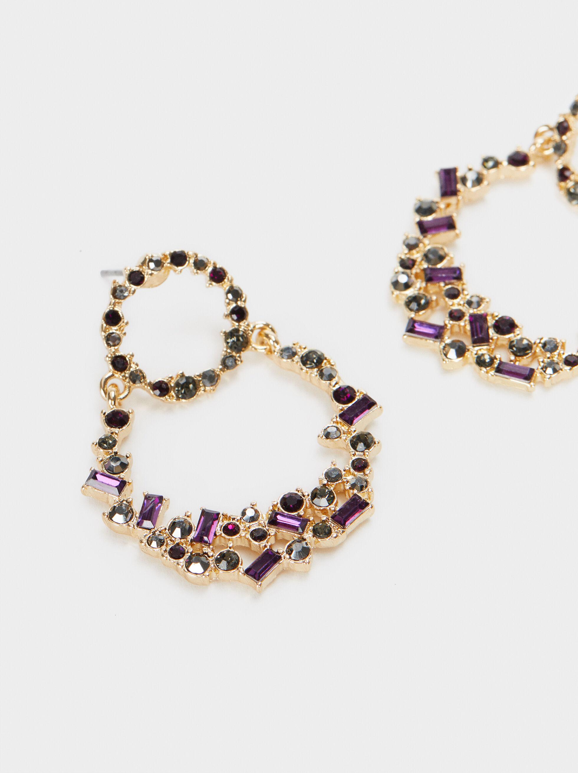 Watercolor Medium Earrings With Gems, Multicolor, hi-res