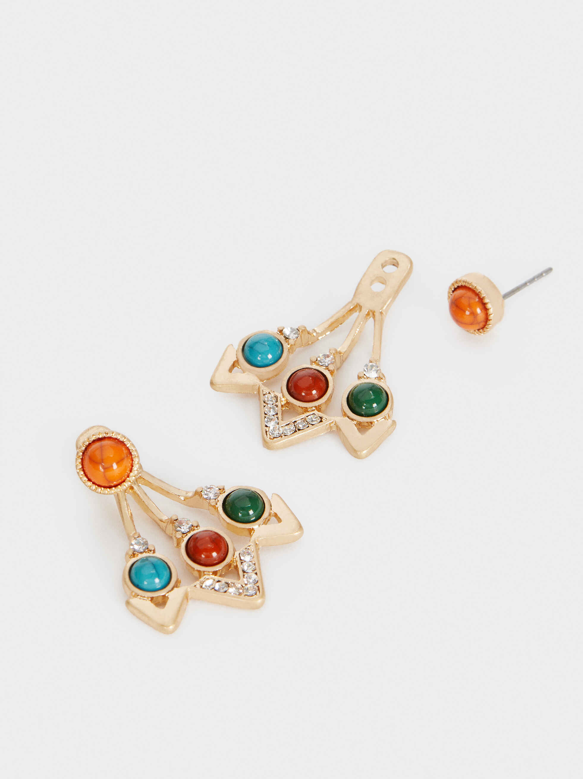 Short Multicoloured Earrings, Multicolor, hi-res