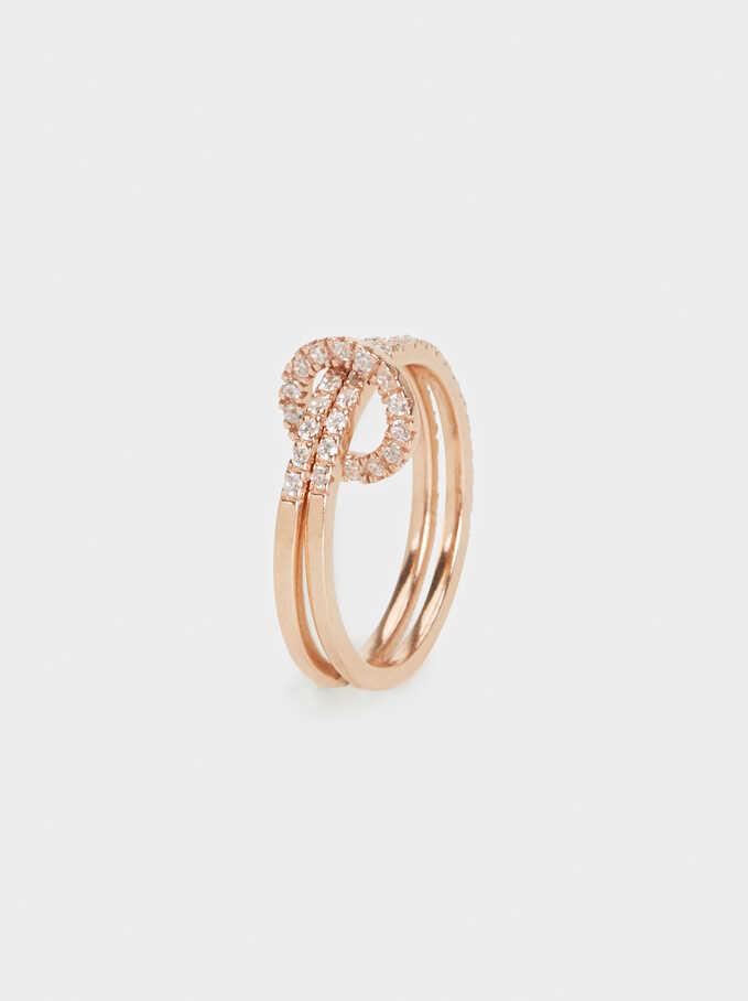 Silver 925 Ring With Rhinestones, Orange, hi-res