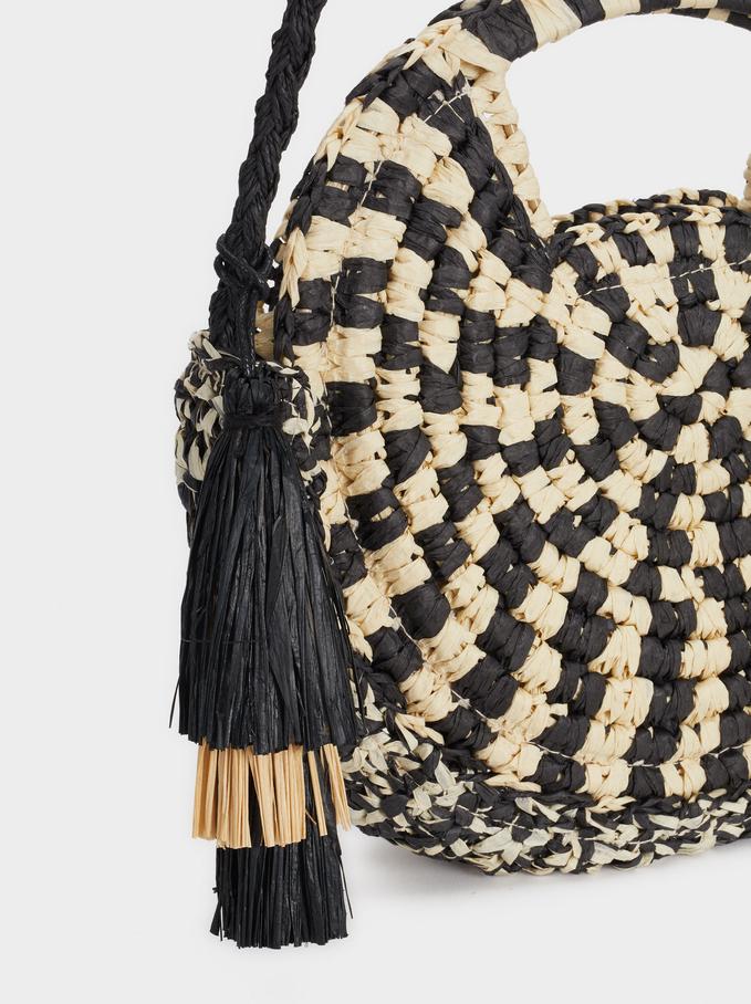 Straw Crossbody Bag With Tassels, Black, hi-res