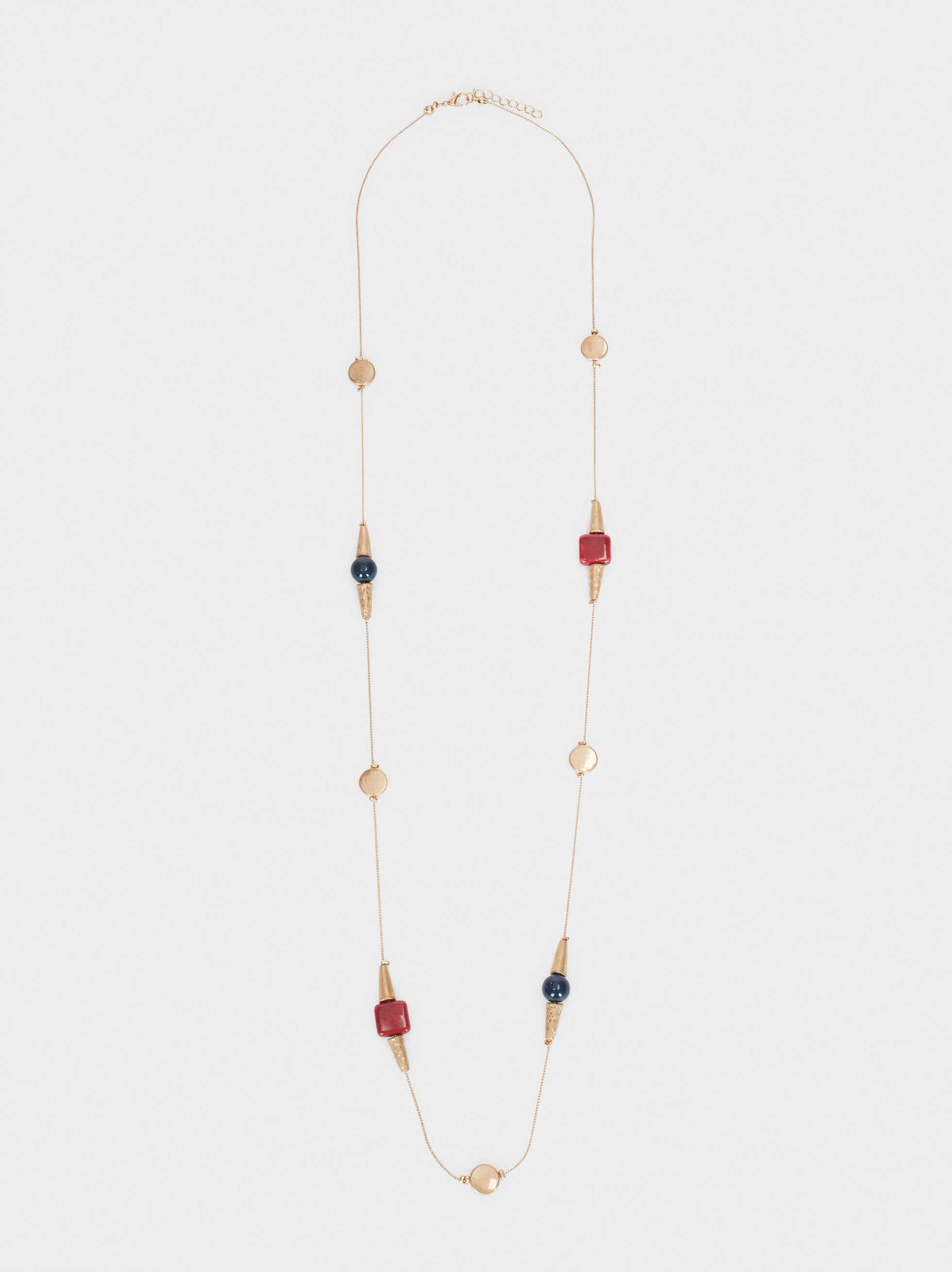 Long Gold Necklace With Bead Detail, Multicolor, hi-res