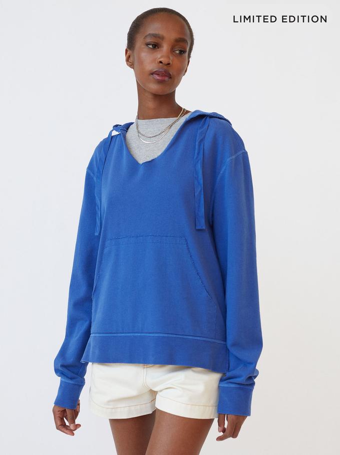 Knit Hoodie, Blue, hi-res