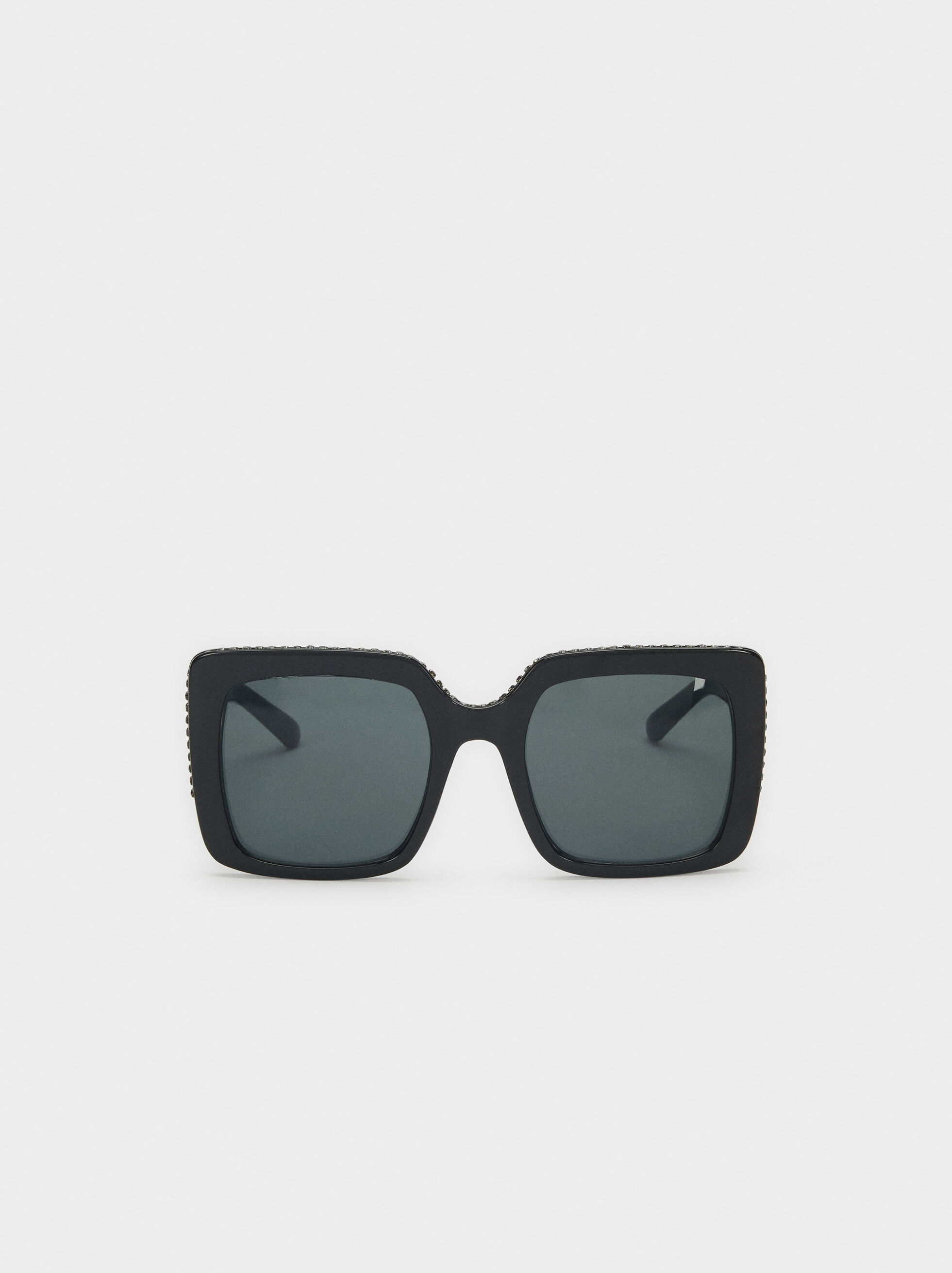 Squared Plastic Sunglasses, Black, hi-res