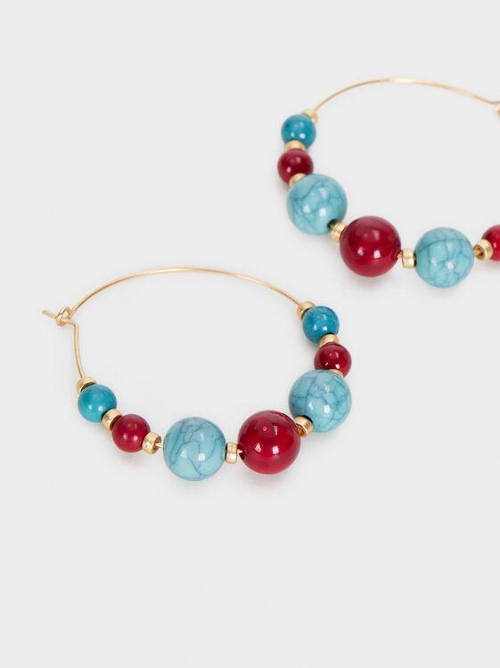 Cherry Blossom Medium Hoop Earrings, Multicolor, hi-res