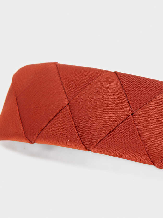 Braided Fabric Hairclip, Brick Red, hi-res
