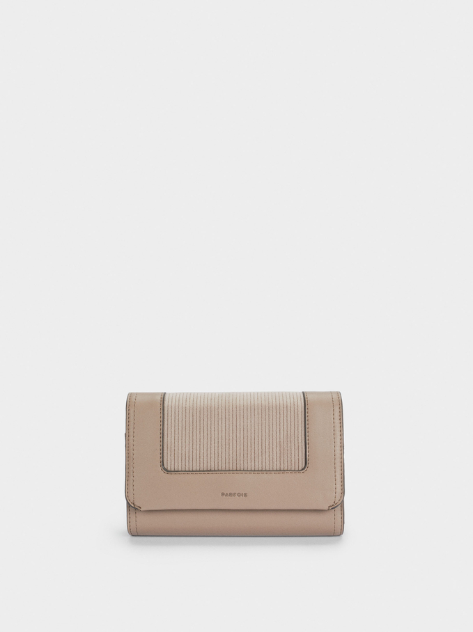 Long Combined Wallet With Flap, Brown, hi-res