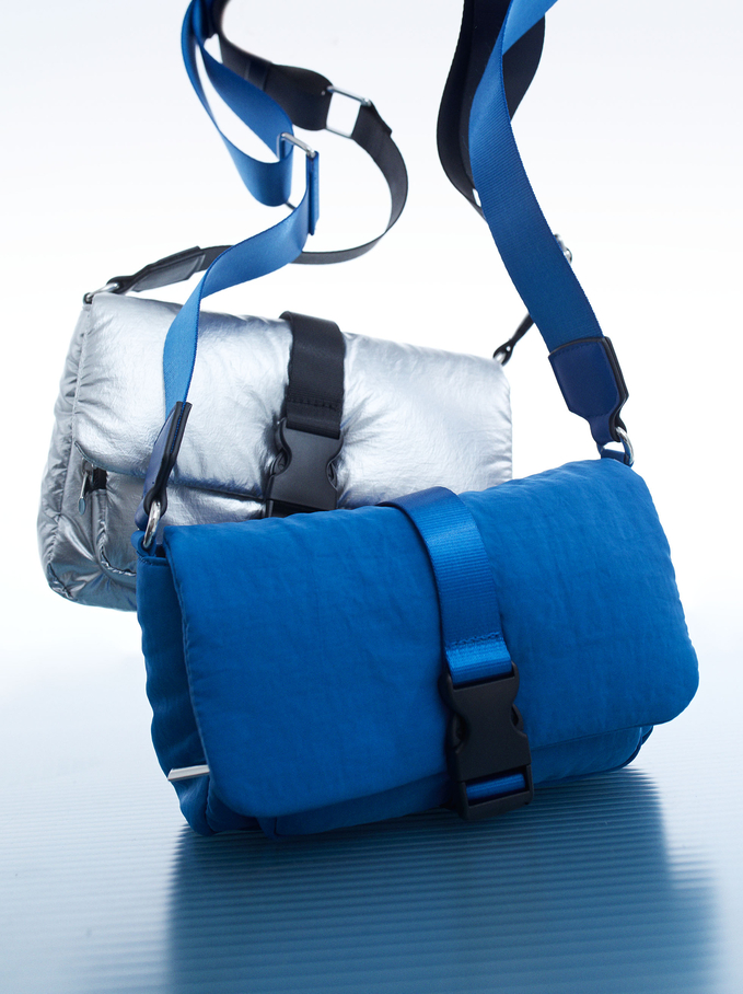 Sac À Bandoulière En Nylon Avec Boucle, Bleu, hi-res
