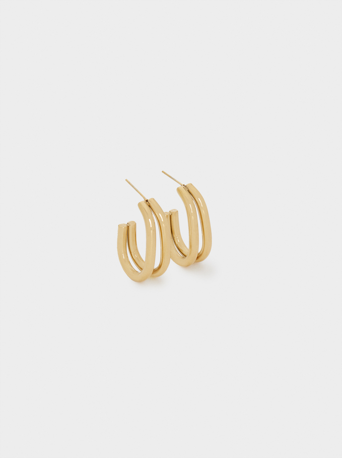 Ggolden Stainless Steel Earrings, Golden, hi-res
