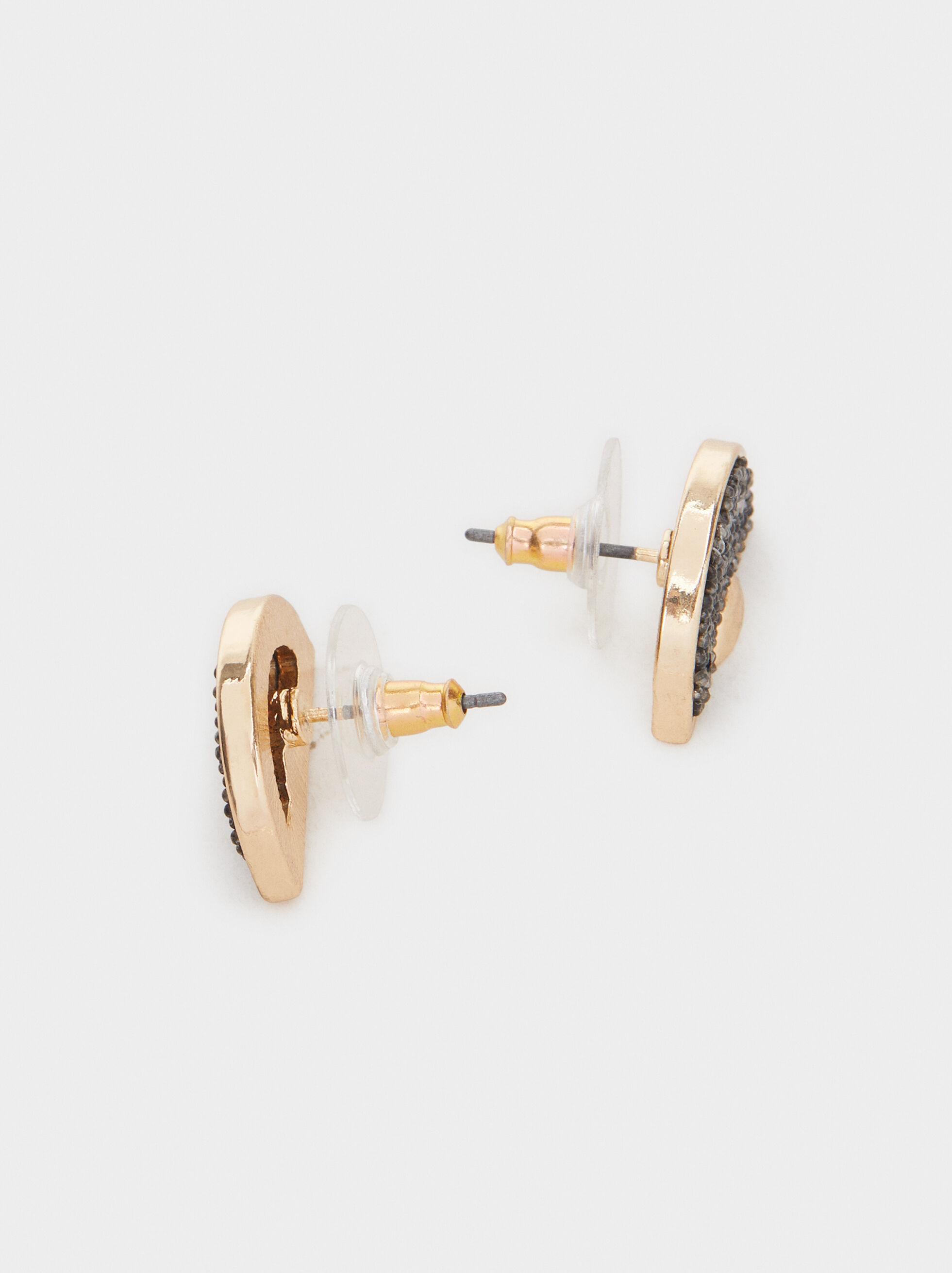 Short Earrings With Rhinestones, Multicolor, hi-res