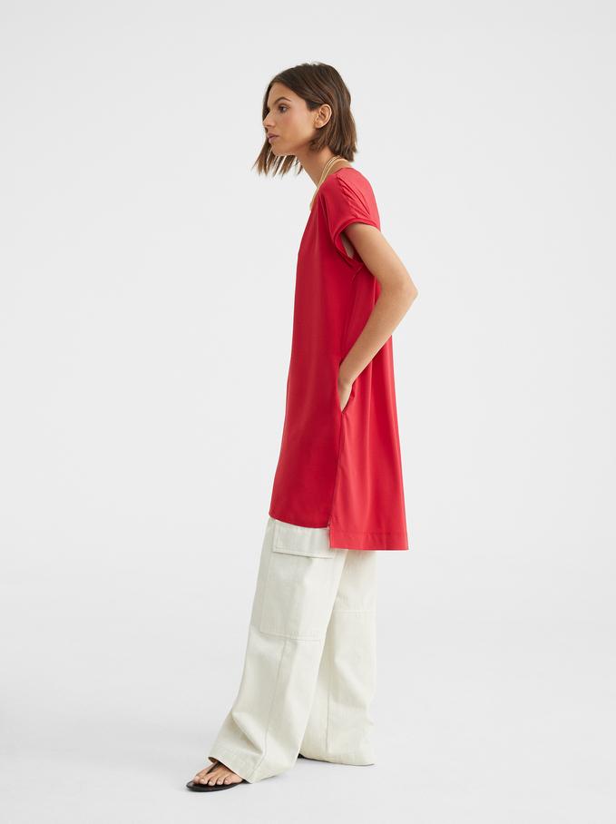 Round Neck Dress, Red, hi-res