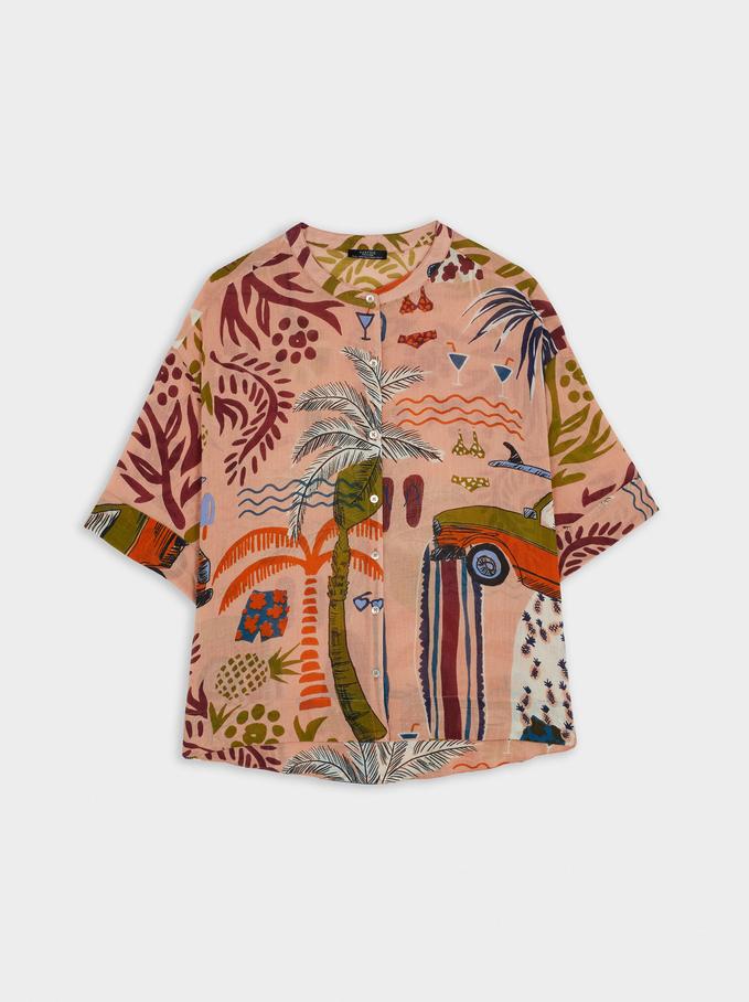 100% Cotton Printed Shirt, Pink, hi-res