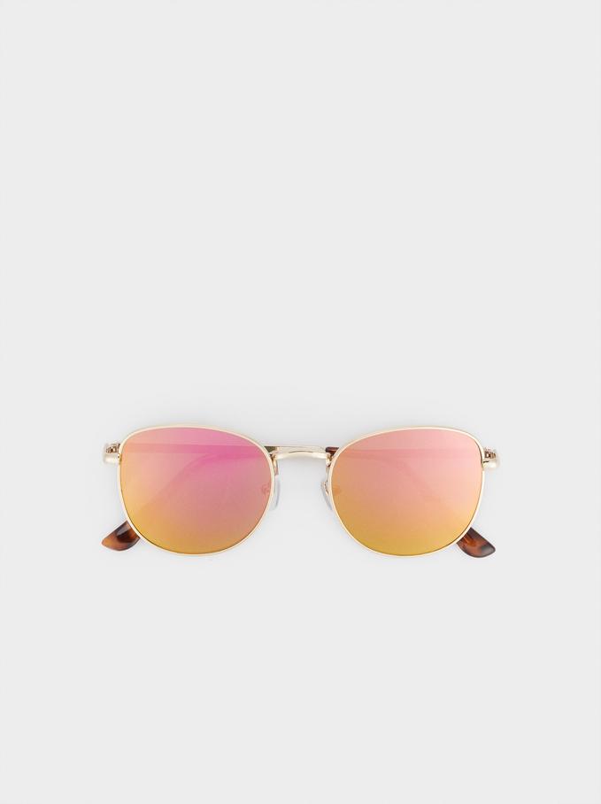 Occhiali Da Sole Metallici, Arancione, hi-res
