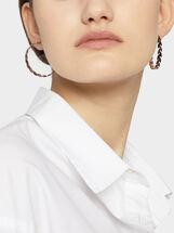 Large Steel Leaf Hoop Earrings, Orange, hi-res