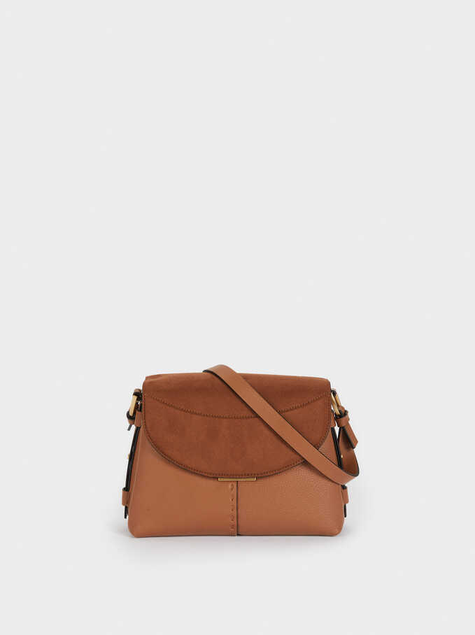 Faux Suede Crossbody Bag With Flap Closure, Camel, hi-res