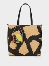 Colourful Faux Raffia Tote Bag, Beige, hi-res