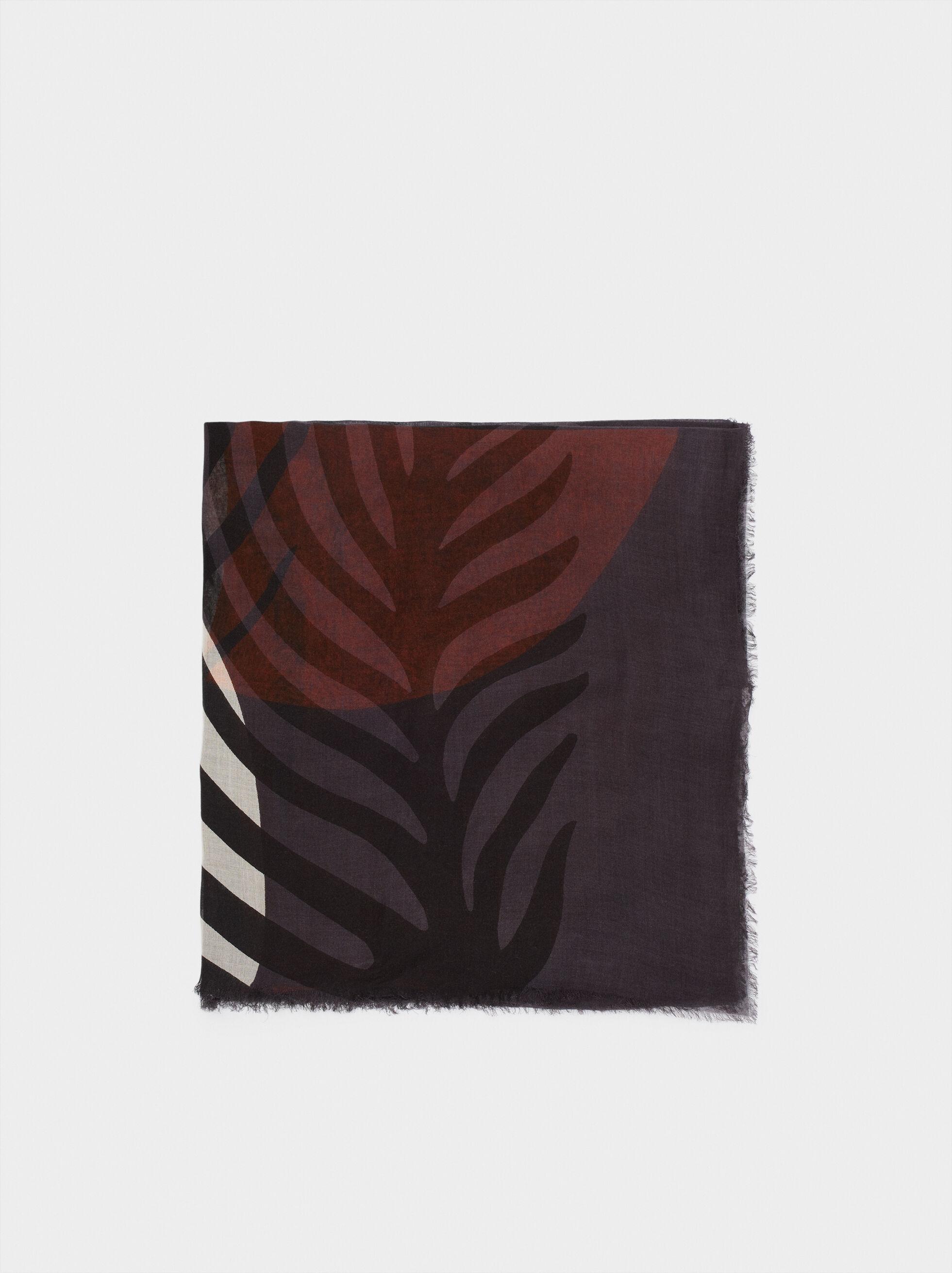 Modal Leaf Print Handkerchief, , hi-res