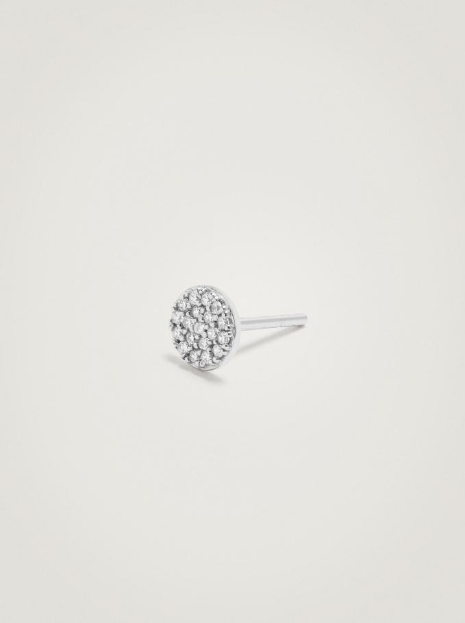 Boucles D'Oreilles Courtes En Argent 925 Faux Diamants, Argent, hi-res